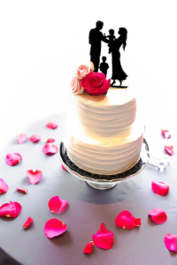 wedding cake, flowers, petals